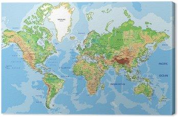 Canvastavla Mycket detaljerad fysisk Världskarta med märkning.