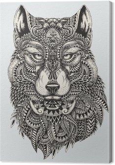 Canvastavla Mycket detaljerade abstrakt wolf illustration