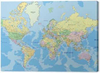 Canvastavla Mycket detaljerade politiska Världskarta med märkning.
