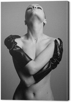 Canvastavla Naken eleganta flickan med handskarna. Studio mode foto.
