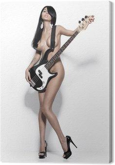 Canvastavla Naken flicka med en gitarr