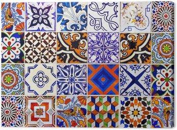 Canvastavla Närbild traditionella Lissabon keramiska plattor