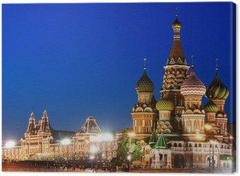 Canvastavla Natt bild av Röda torget och Vasilijkatedralen i Moskva