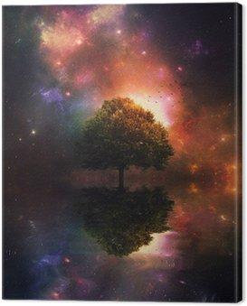 Canvastavla Natthimlen och träd