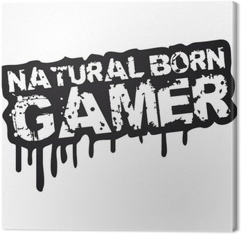Canvastavla Natural Born Gamer Stempel Graffiti