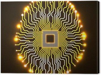 Canvastavla Neon hjärnan. Cpu. Kretskort. Abstrakt teknik bakgrund