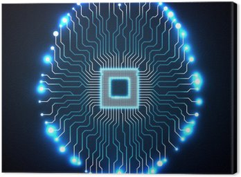 Canvastavla Neon hjärnan. Cpu. Kretskort. Sammanfattning teknik bakgrund. Vektor illustration. eps 10