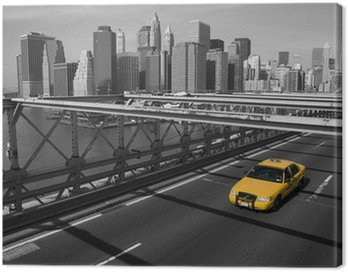 Canvastavla New York - Brooklyn Bridge e taxi giallo