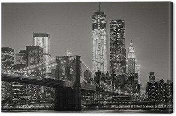 Canvastavla New York by night. Brooklyn Bridge, Lower Manhattan - Svart en