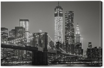Canvastavla New York by night. Brooklyn Bridge, Lower Manhattan - Svart en