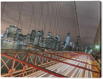 Canvastavla New York - Manhattan Skyline från Brooklyn Bridge by Night