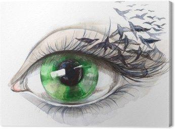 Canvastavla Öga med fåglar (serie C)