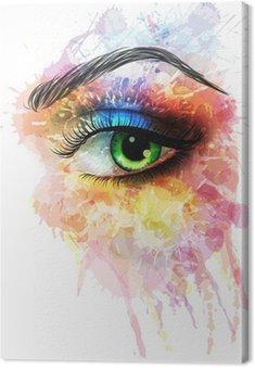Canvastavla Ögon gjord av färgglada stänk