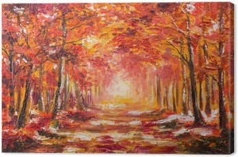 Canvastavla Oljemålning landskap - färgrik höstskog