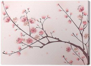 Canvastavla Orientalisk stil målning, körsbärsblom på våren