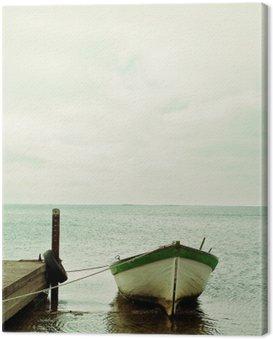 Canvastavla Östersjön och båt lugn landskap
