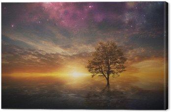 Canvastavla Overkligt träd i sjön