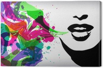 Canvastavla På tal kvinna, mode, bakgrund, begrepp
