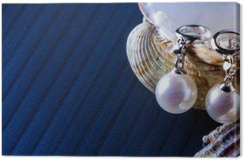 Canvastavla Pendenti i oro bianco e perle