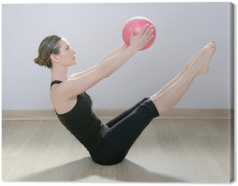 Canvastavla Pilates kvinna boll gym fitness yoga