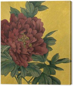 Canvastavla Pion blomma på en guld- bakgrund