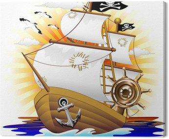 Canvastavla Pirate Ship Pirate Ship Cartoon-vektor