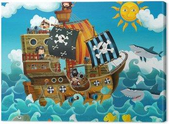 Canvastavla Piraterna på havet - illustration för barnen