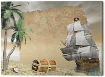 Canvastavla Piratskepp hitta skatten - 3d framför