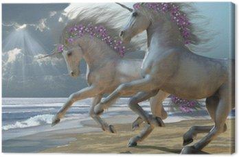 Canvastavla Playing Unicorns Del 2