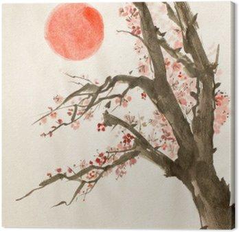 Canvastavla Plommonträd röd sol