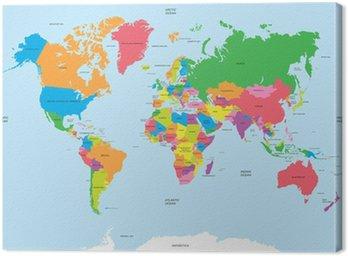 Canvastavla Politisk världskarta vektor