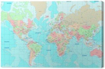 Canvastavla Politisk Världskartan