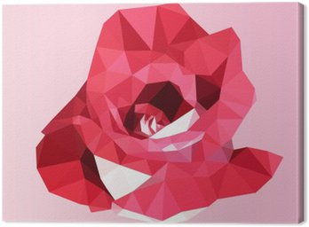 Canvastavla Polygonal röd ros. poly låg geometriska triangel blomma vektor