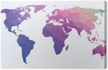 Canvastavla Polygonal världskarta