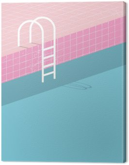Canvastavla Pool i vintagestil. Gamla retro rosa plattor och vit stege. Sommar affisch bakgrund mall.