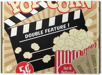 Canvastavla Popcorn med kläpp ombord och biobiljetter vintage affisch