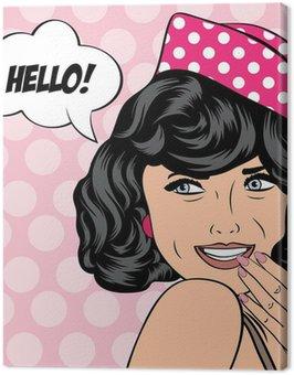 Canvastavla Popkonst retro kvinna i serier stil