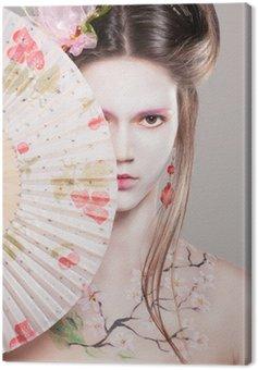 Canvastavla Porträtt av attraktiva unga kvinnor i asiatisk stil