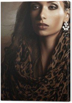 Canvastavla Porträtt av en vacker kvinna i en turban och juveler
