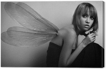 Canvastavla Porträtt av flicka med vingar