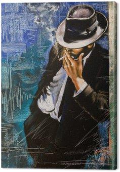Canvastavla Porträtt av man med en cigarett