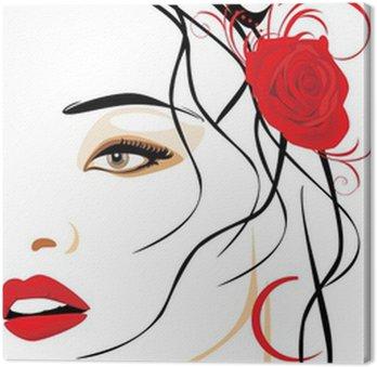 Canvastavla Porträtt av vacker kvinna med röd ros i håret