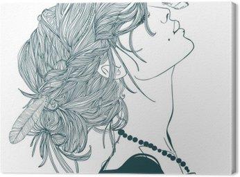 Canvastavla Profil av vacker kvinna med fjäril