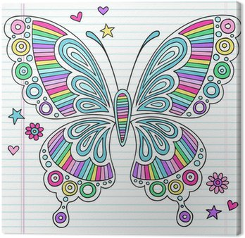 Canvastavla Psychedelic Doodles Rainbow Butterfly Vector