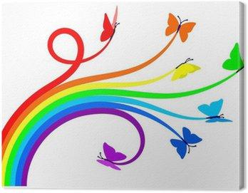 Canvastavla Rainbow fjärilar