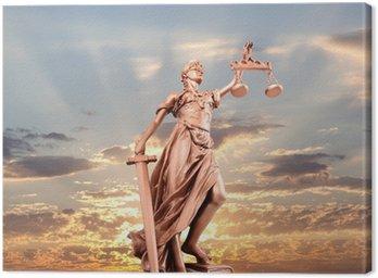 Canvastavla Rättvisa staty