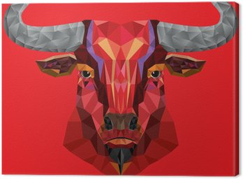 Canvastavla Red Bull huvud med geometrisk mönster- vektor illustration