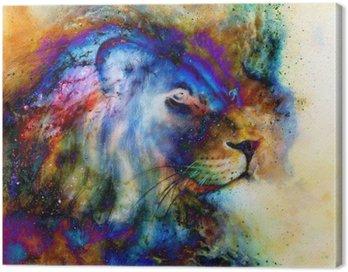 Canvastavla Regnbåge lejon på vackra färgglada bakgrunden med inslag av rymdkänsla, lejon profil porträtt.