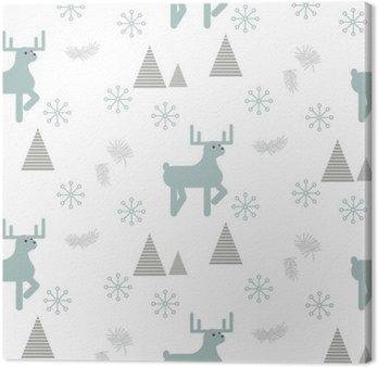 Canvastavla Renar i en snöig skog sömlös vektor mönster. Skandinavisk stil vit och blå pastellfärgad bakgrund.