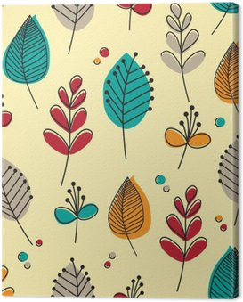 Canvastavla Retro blad och blommor